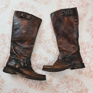 Frye Tall Brown Square Leather Cowboy Boots
